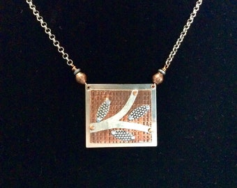 Handmade Copper and Silver Riveted Necklace With Leaves