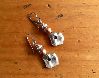 Copper and Silver Mixed Metal Dangle Earrings