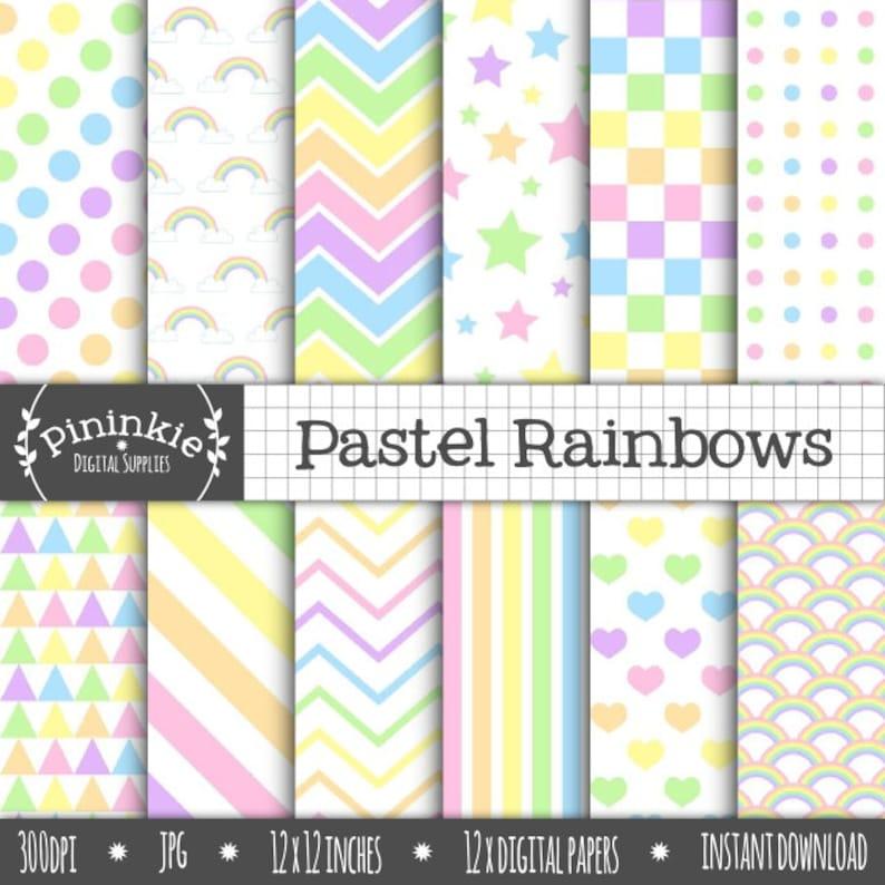 Pastel Rainbow Digital Paper Pastel Scrapbooking Paper image 0