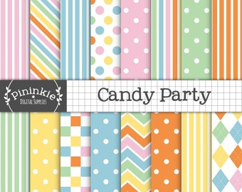 Rainbow Digital Paper, Candy Stripe Digital Scrapbooking Paper, Pink Polka Dots, Rainbow Chevrons, Argyle, Instant Download, Commercial Use