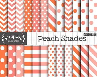 Peach Digital Paper Pack, Peach Polka Dot Digital Paper, Peach Chevron Digital Paper, Peach Striped Digital Paper, Orange Digital Paper Pack