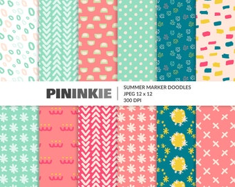 Abstract Summer Digital Paper, Hand Drawn Patterns, Polka Dots, Crosses, Chevrons, Pink, Green, Bright Scrapbook Paper, Commercial Use