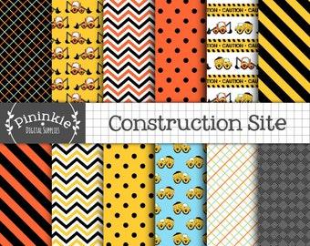 Construction Digital Paper Pack, Digger Scrapbooking Paper, Boy Paper, Instant Download, Commercial Use, Dump Truck, Construction Vehicles