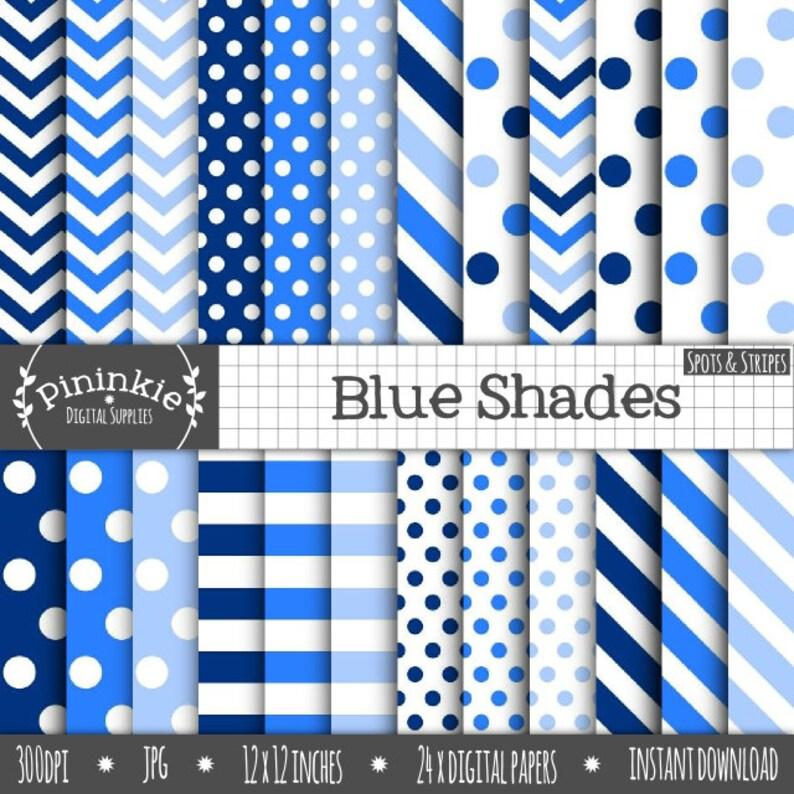 24 x Blue Digital Papers Blue Polka Dots Spots Blue image 0
