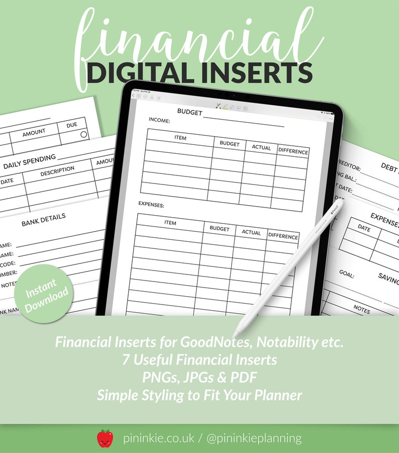 Digital Financial Planner Inserts for Goodnotes Notability image 0