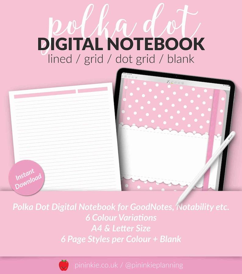Polka Dot Digital Notebook Pastel Kawaii iPad Notebook Cover image 0