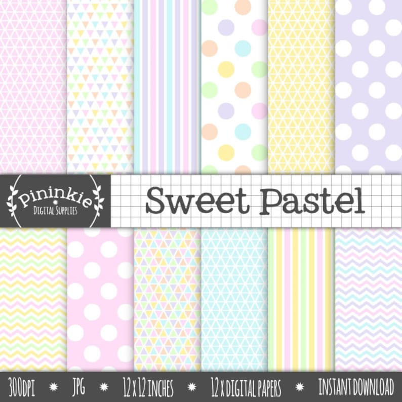 Pastel Digital Paper Pack Triangles Stripes Polka Dots image 0