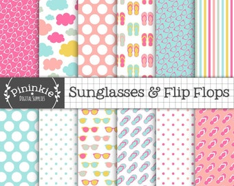 Summer Digital Paper, Beach Digital Scrapbook Paper, Sunglasses, Flip Flops, Polka Dots, Stripe, Commercial Use, Instant Downlo