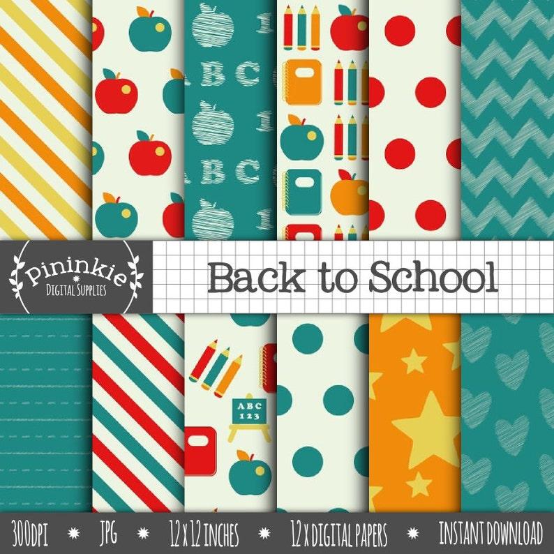 Back To School Digital Paper Chalkboard Digital Scrapbook image 0