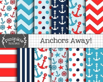 Nautical Digital Paper, Summer Digital Paper, Anchor Digital Scrapbooking Paper, Card Making Paper, Blue, Navy, Red, Polka Dots, Chevron