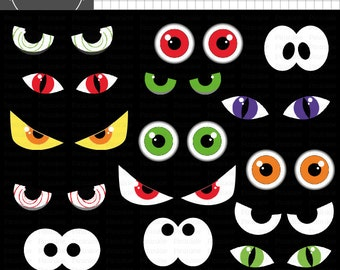 halloween digital clip art eyes images 9 graphics spooky rh etsy com spooky eyes clipart free Scary Eyes in the Dark