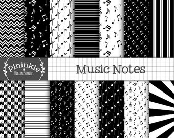Music Digital Scrapbooking Paper, Black and White Digital Paper, Music Note Digital Paper, Instant Download, Commercial Use
