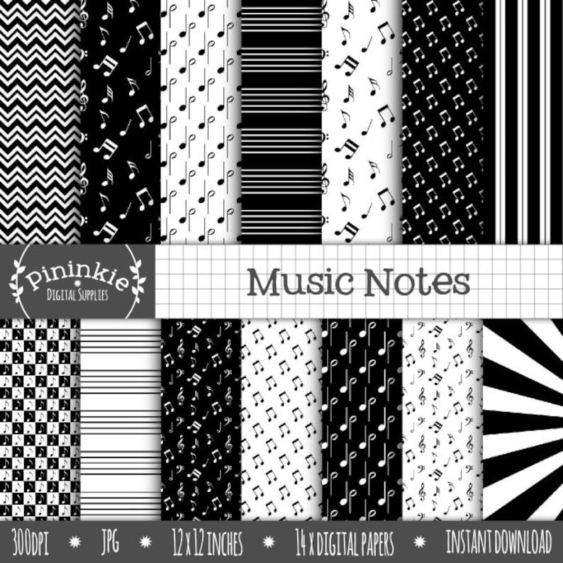 Music Digital Scrapbooking Paper Black and White Digital image 0