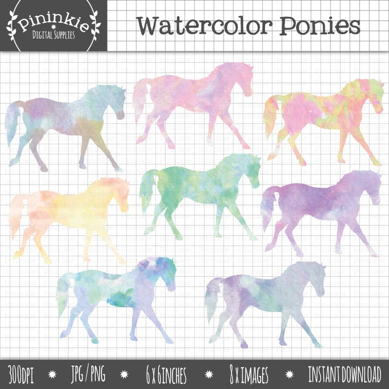 Horse Watercolor Clipart Pony Clipart Watercolor Graphics image 0