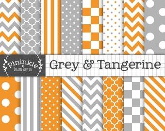 Orange And Grey Digital Paper Pack, Orange Digital Scrapbook Paper, Printable Paper, Tangerine Digital Paper, Instant Download, Orange Paper