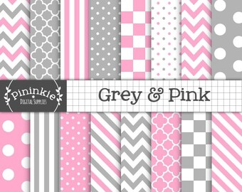 Pink and Grey Digital Paper, Digital Scrapbook Paper, Background Paper, Instant Download, Commercial Use, Pink Chevron, Pink Po