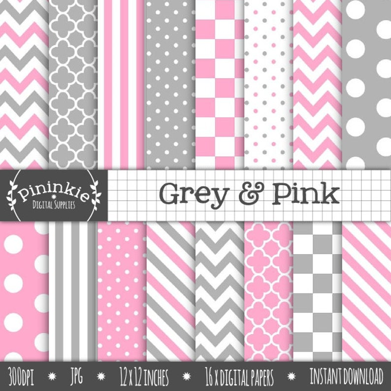 Pink and Grey Digital Paper Digital Scrapbook Paper image 0