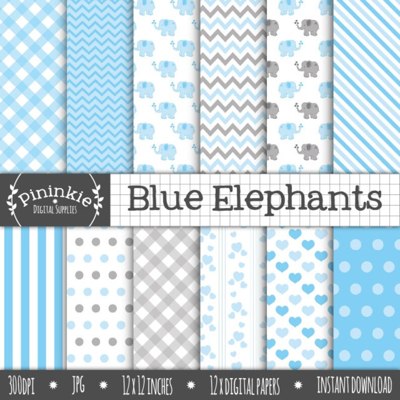 Blue Elephant Digital Paper Boy Baby Shower Scrapbook Paper image 0