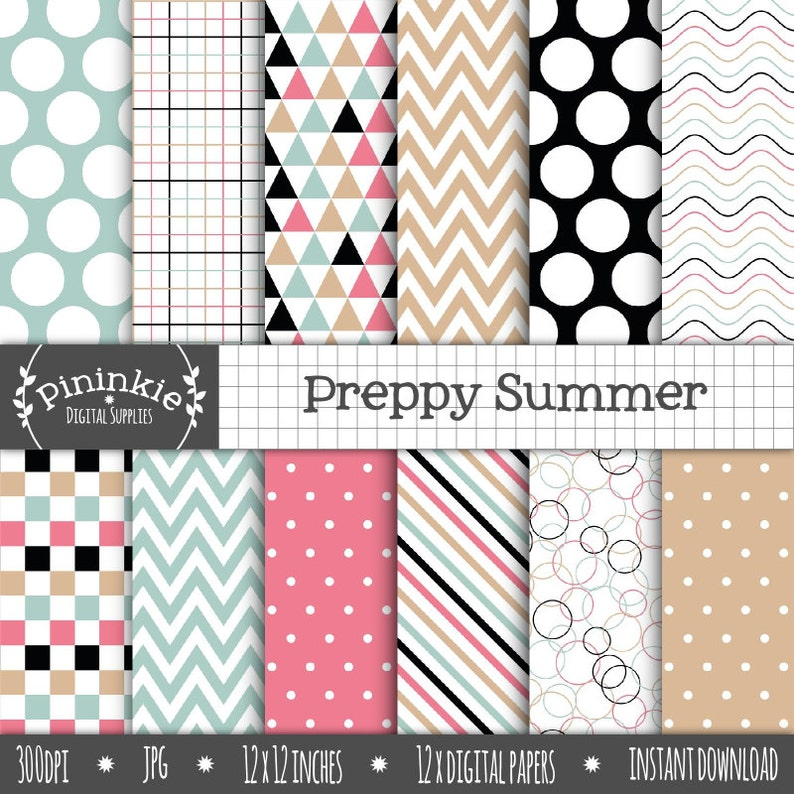 Summer Preppy Digital Paper Commercial Use Scrapbook Papers image 0