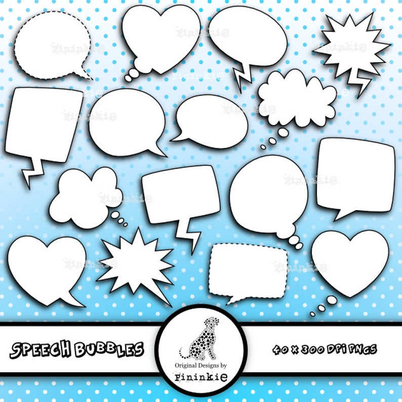 Speech Bubbles Clip Art  INSTANT DOWNLOAD  Commercial Use  image 0