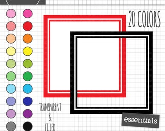 Square Digital Frames, Square Labels, Square Frame Clipart, Instant Download, Commercial Use