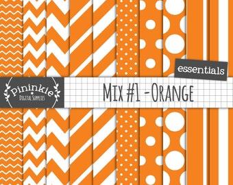 Orange Digital Paper, Digital Scrapbook Paper, Instant Download, Commercial Use