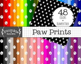 Paw Print Digital Paper, Dog Digital Download, Cat Digital Paper, Instant Download, Commercial Use