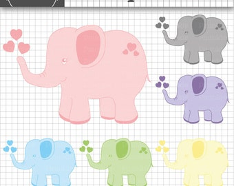 Elephant Clipart, Babyshower Images, Baby Pink, Baby Blue, Commercial Use, Instant Download
