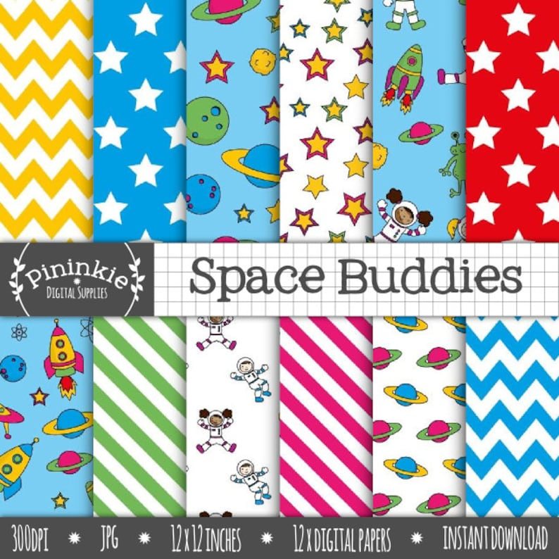 Space Digital Paper Digital Scrapbook Paper Digital image 0