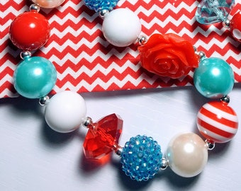 Big Red Bow Turquoise Blue dr seuss ispired Chunky Bubblegum Necklace jewerly