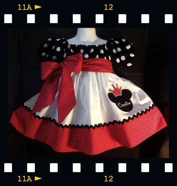 girls toddler pillowcase dress minnie mouse disney set chunky bead clip 1-2yr