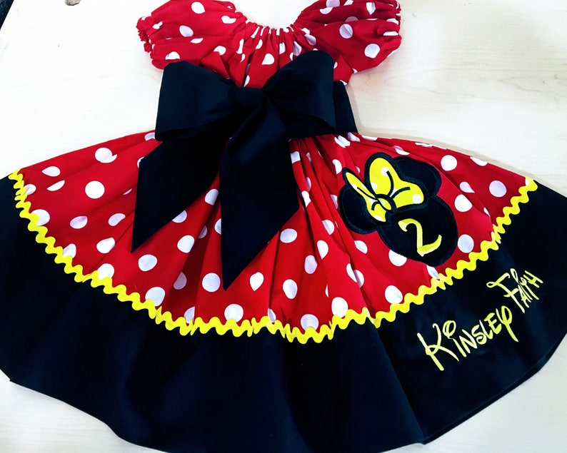 16f92e23 Custom Made Minnie Mouse Party Dress Big Yellow Bow Applique | Etsy