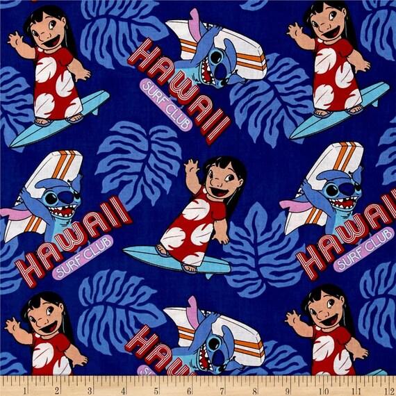 Disney Lilo and Stitch Surfs Up Hawaii Surf Club Cotton Fabric Fat Quarter