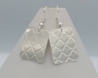 Silver Cushion Tuft Pattern Earrings Rectangular