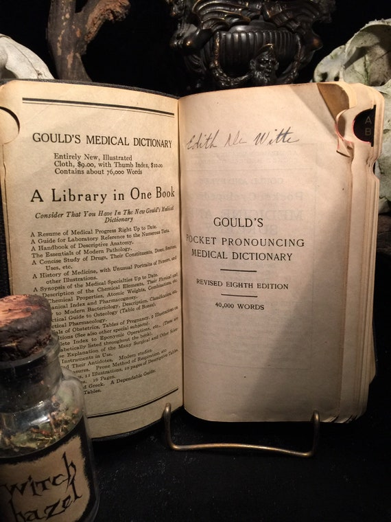 Antique Medical Book 40,000 MEDICAL WORDS Gould's Pocket Pronouncing  Medical Dictionary c  1926 at Gothic Rose Antiques