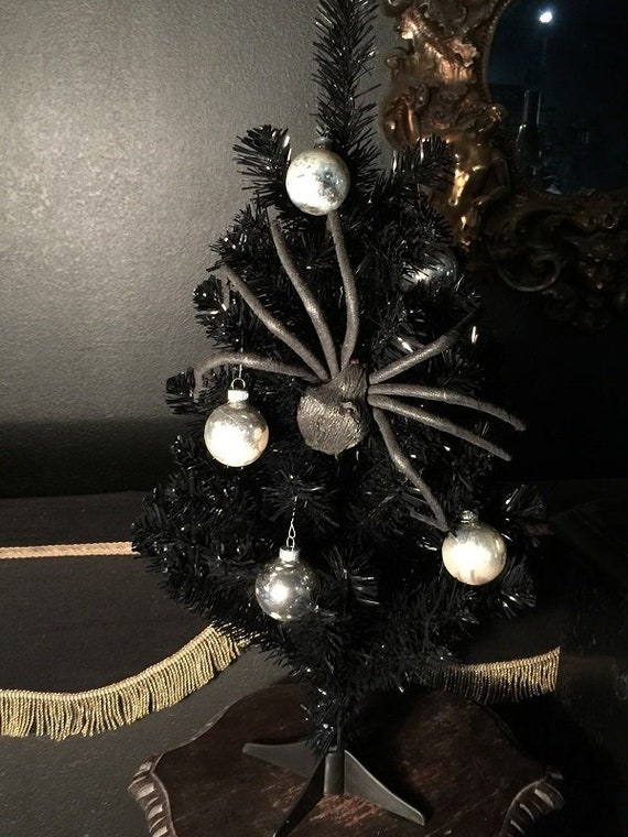 Gothic Black Christmas Tree with Vintage Glass Ornaments and Spiders