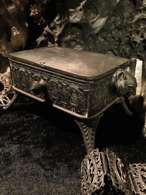 Antique Gothic Cat Jewelry Casket Trinket Box  at