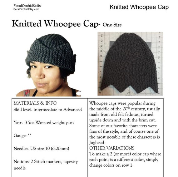 Knitting PATTERN Jughead Hat Whoopee Cap Riverdale Hat six  9a6a0f8d411