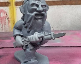 UNPAINTED Combat Garden Gnome Charging with Fixed Bayonet