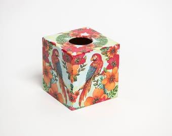 Tropical Parrot Tissue Box Cover wooden perfect Gift perfect in homes/ hotels