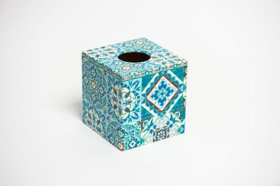 Blue Moroccan Tile Wooden HANDMADE WASTE PAPER BIN made in UK