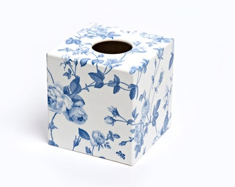Blue Flower Tissue Box Cover wooden handmade perfect in homes/ hotels