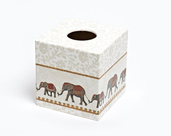 Indian Elephant Tissue Box Cover wooden perfect in homes/ hotels