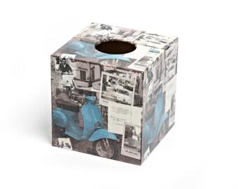 Italian Scooter  Design Tissue Box Cover Wooden Handmade
