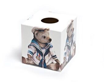 Tissue Box Cover Sailor Teddy wooden handmade