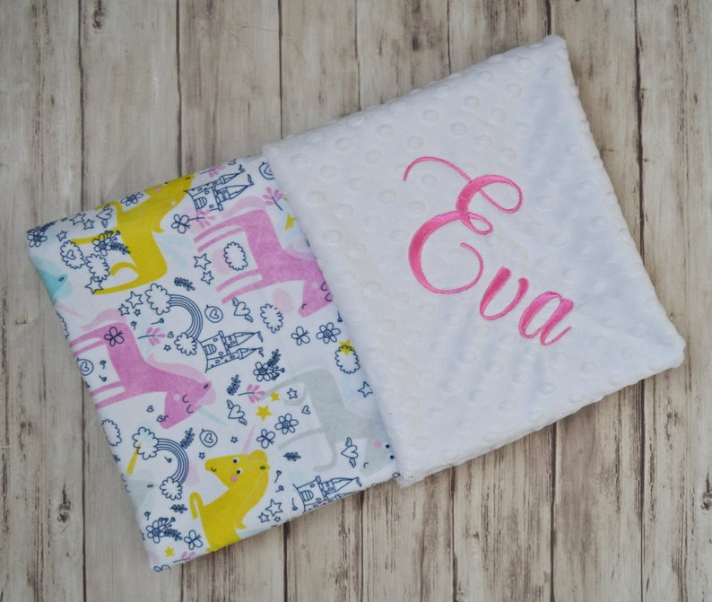 2636a3bb228e9 Sale Minky Monogrammed Baby Blanket Personalized Unicorn Pink, Yellow, Teal  and White Baby Girl Blanket with Name, Newborn Gift, Whimsical