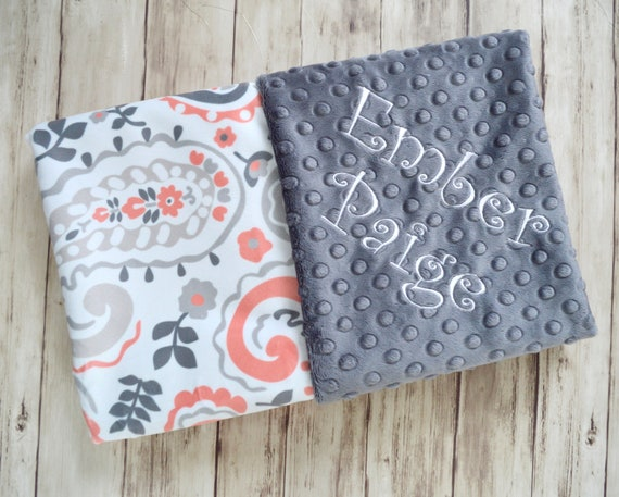 Moonbeam minky personalized softness paisley minky baby blanket monogrammed personalized coral and charcoal gray baby girl gift blanket negle Choice Image