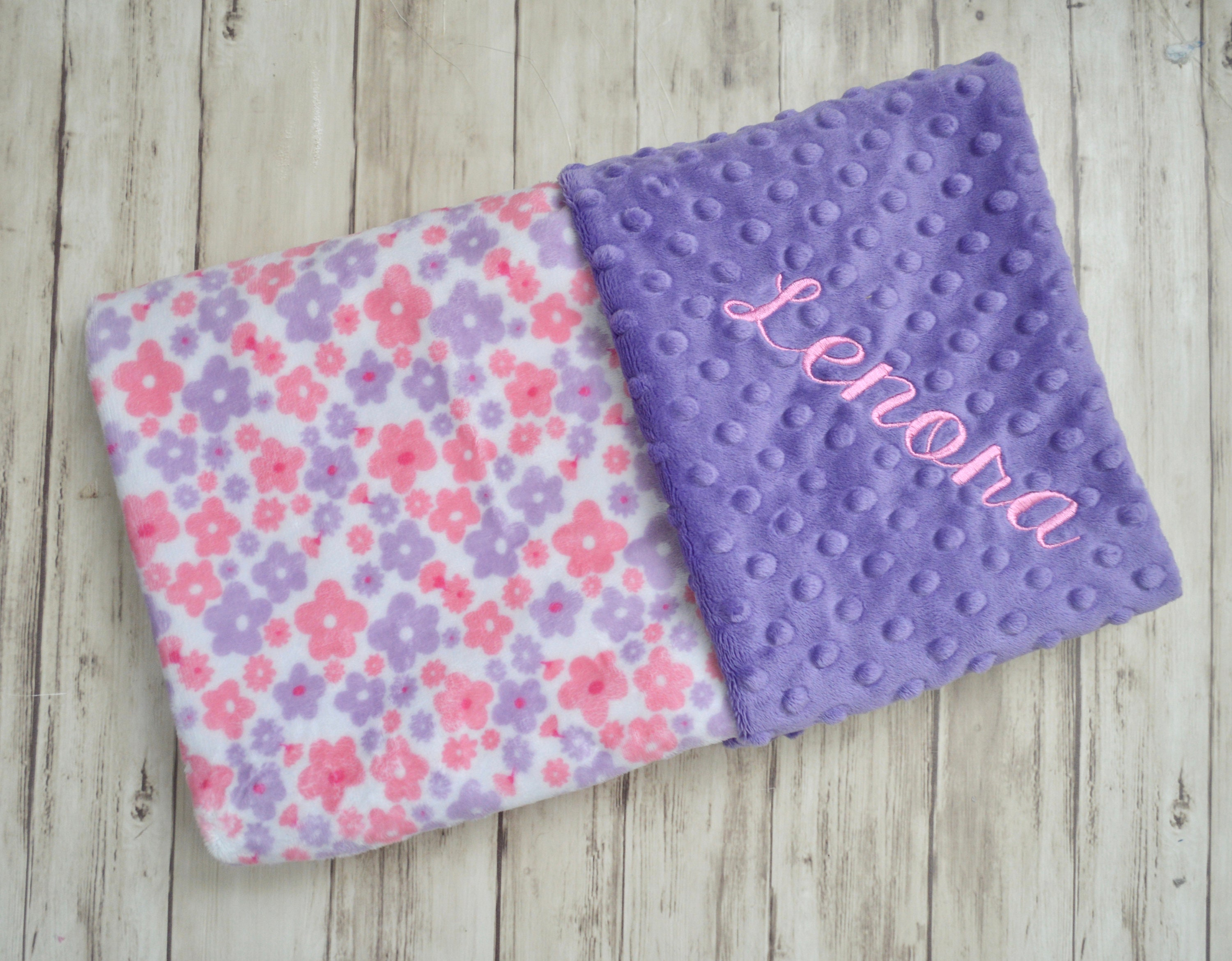 Monogrammed Minky Baby Blanket Pink And Purple Flowers Floral