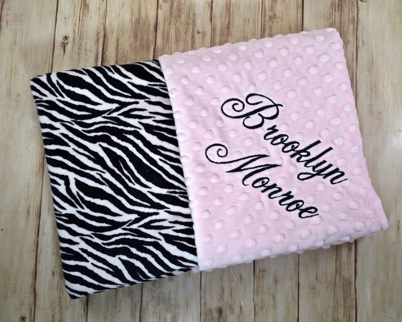 21c255ac0fd34 SALE Monogrammed Baby Blanket - Minky Zebra Pink, Black and White,  Personalized Baby Girl Gift, Animal Print Girl Blanket with Name Newborn