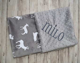 Monogrammed Baby Blanket, Minky Grey Gray Deer, Buck and Doe,  Personalized Girl Blanket with Baby Name Newborn, receiving blanket, soft